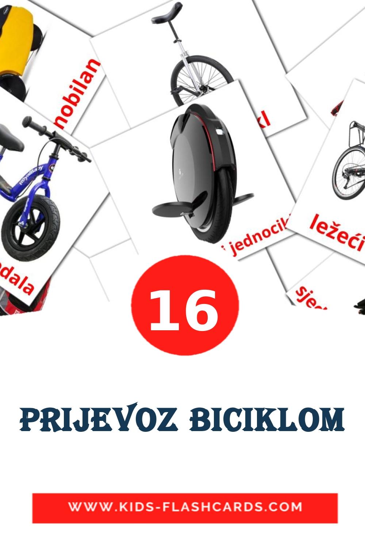16 prijevoz biciklom Picture Cards for Kindergarden in croatian