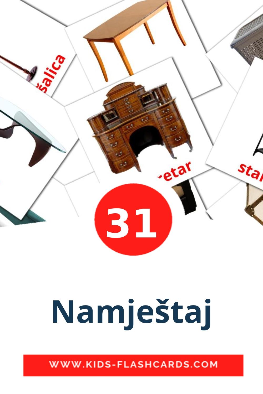 31 Namještaj Picture Cards for Kindergarden in croatian