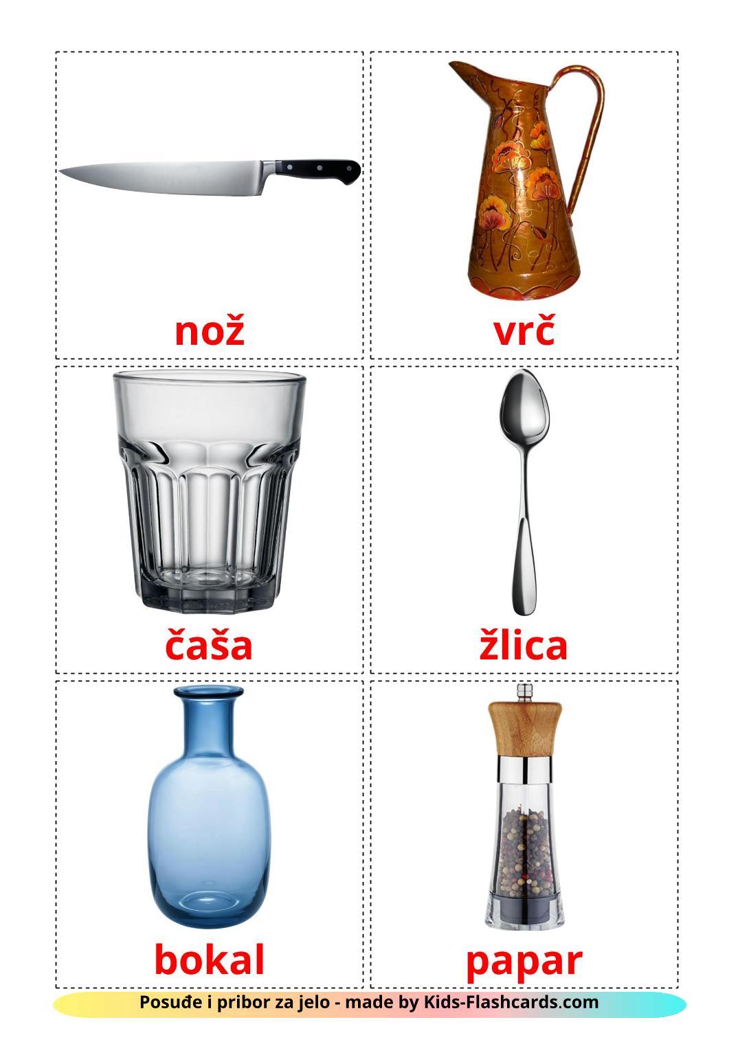 Crockery and cutlery - 29 Free Printable croatian Flashcards