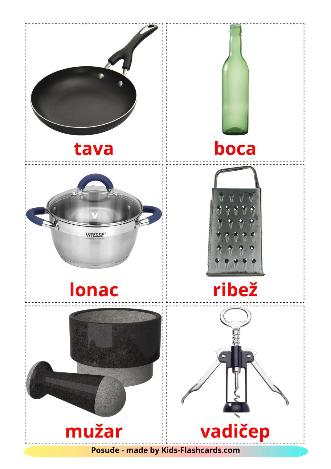 Kitchenware - 35 Free Printable croatian Flashcards