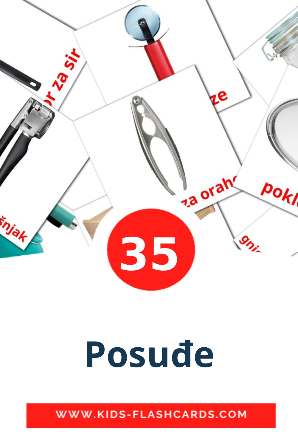 35 Posuđe Picture Cards for Kindergarden in croatian