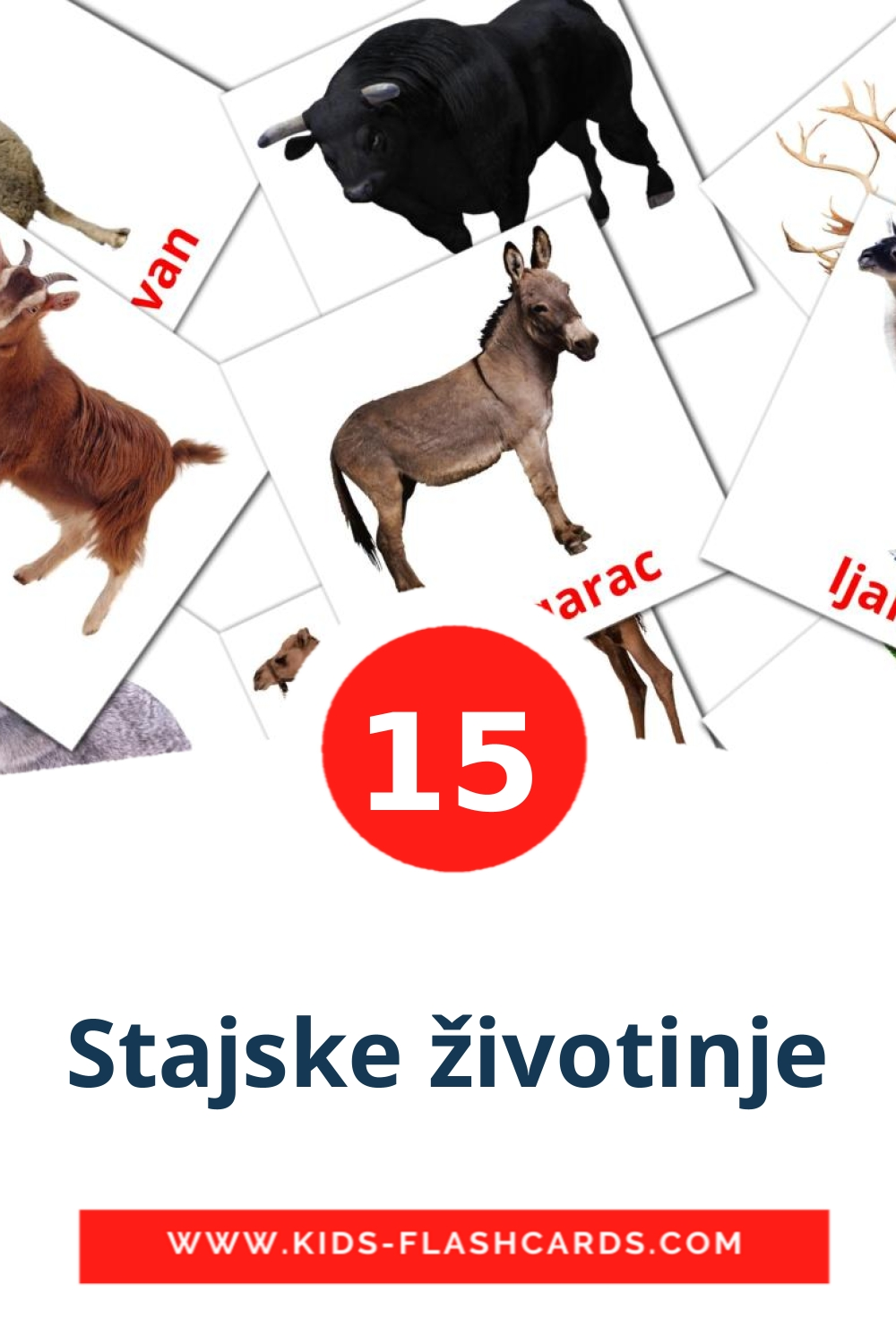 15 Stajske životinje Picture Cards for Kindergarden in croatian