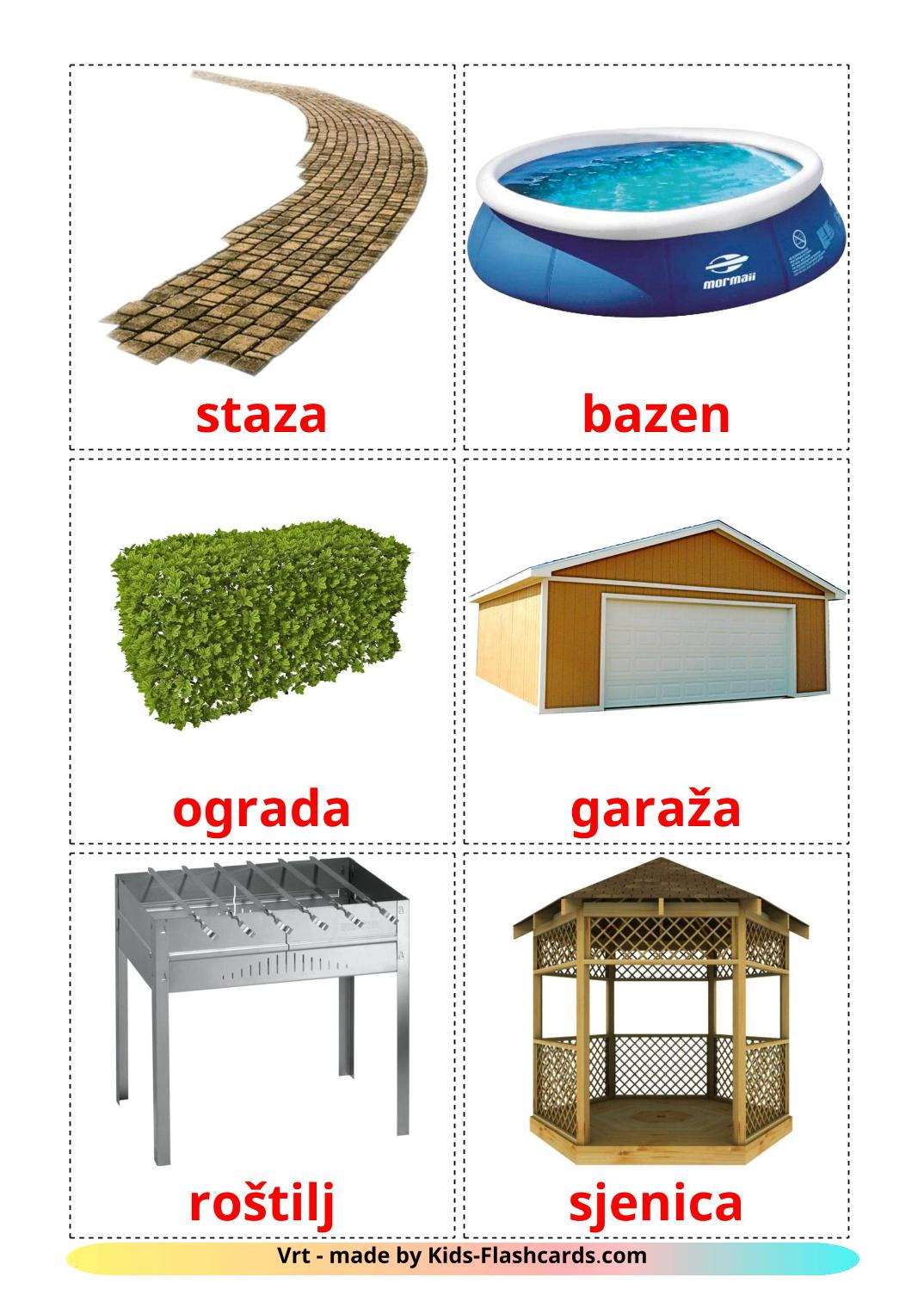 Garden - 18 Free Printable croatian Flashcards