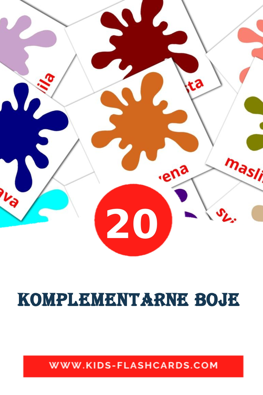20 Komplementarne boje  Picture Cards for Kindergarden in croatian