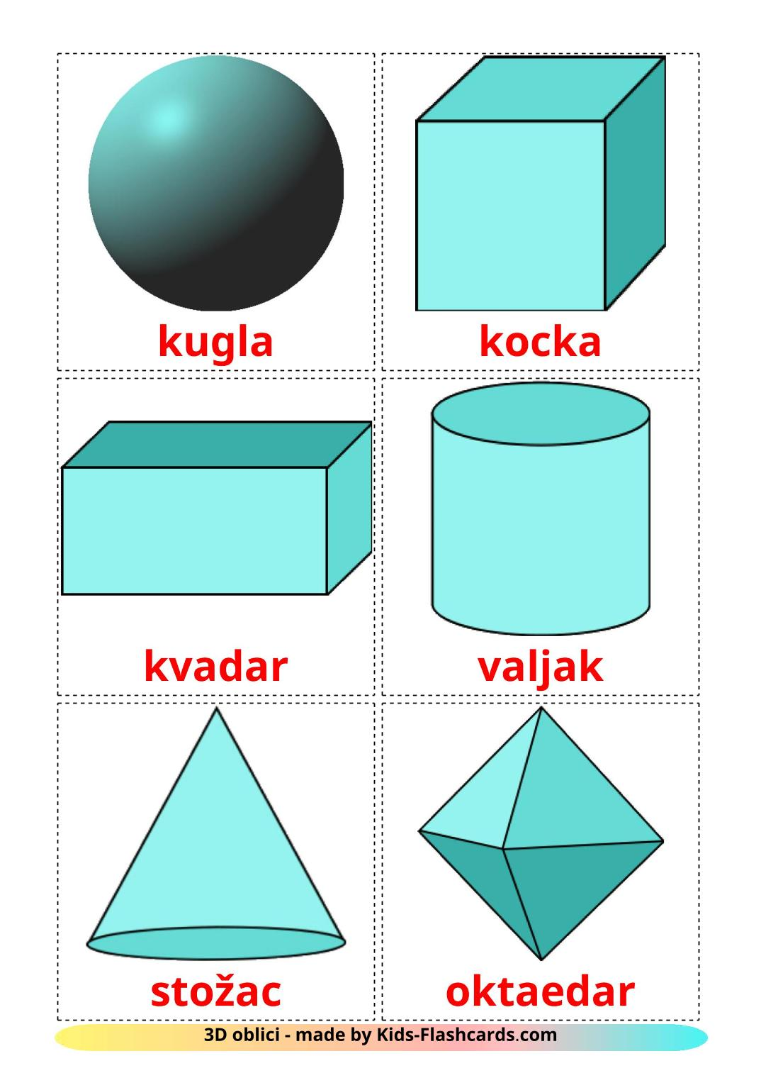 3D Shapes - 17 Free Printable croatian Flashcards