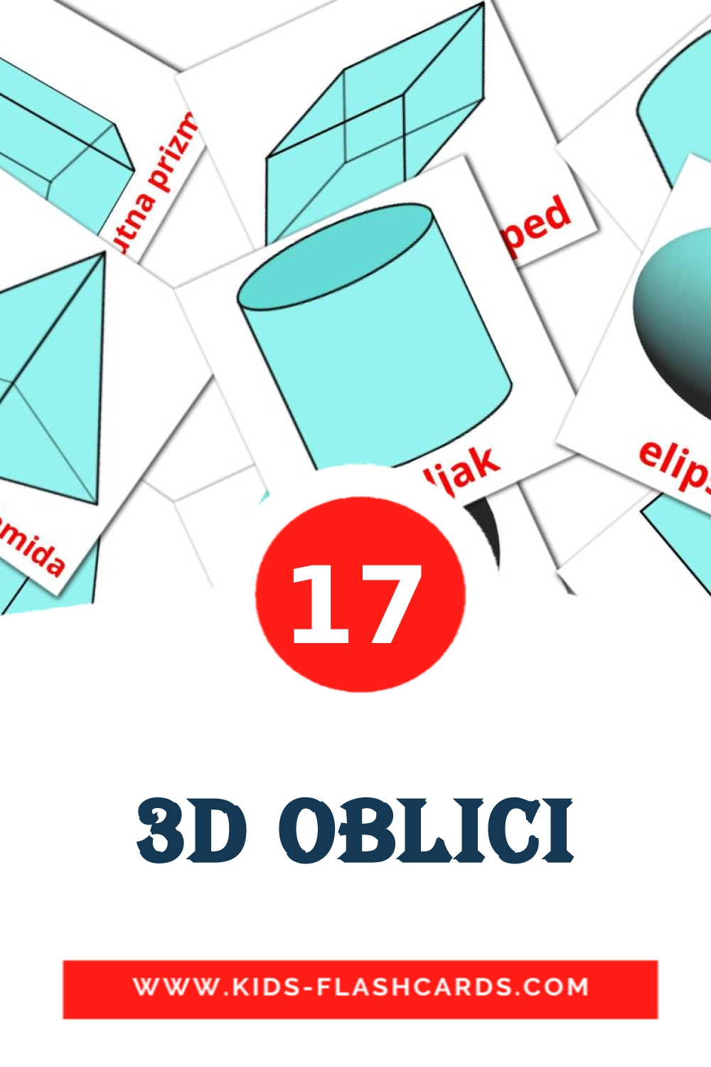 17 3D oblici Picture Cards for Kindergarden in croatian