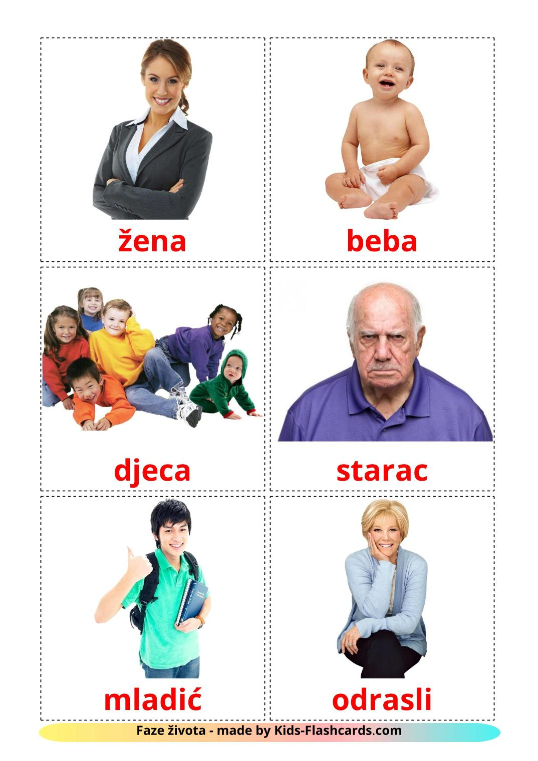 Stages - 12 Free Printable croatian Flashcards