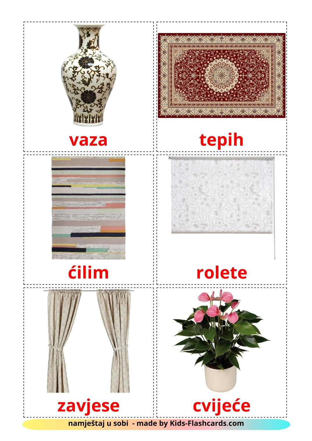 Bedroom accessories - 18 Free Printable croatian Flashcards