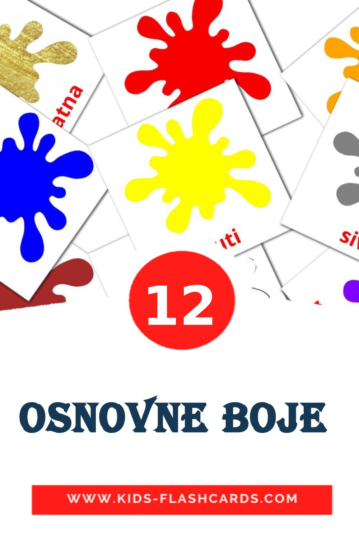 12 Osnovne boje  Picture Cards for Kindergarden in croatian