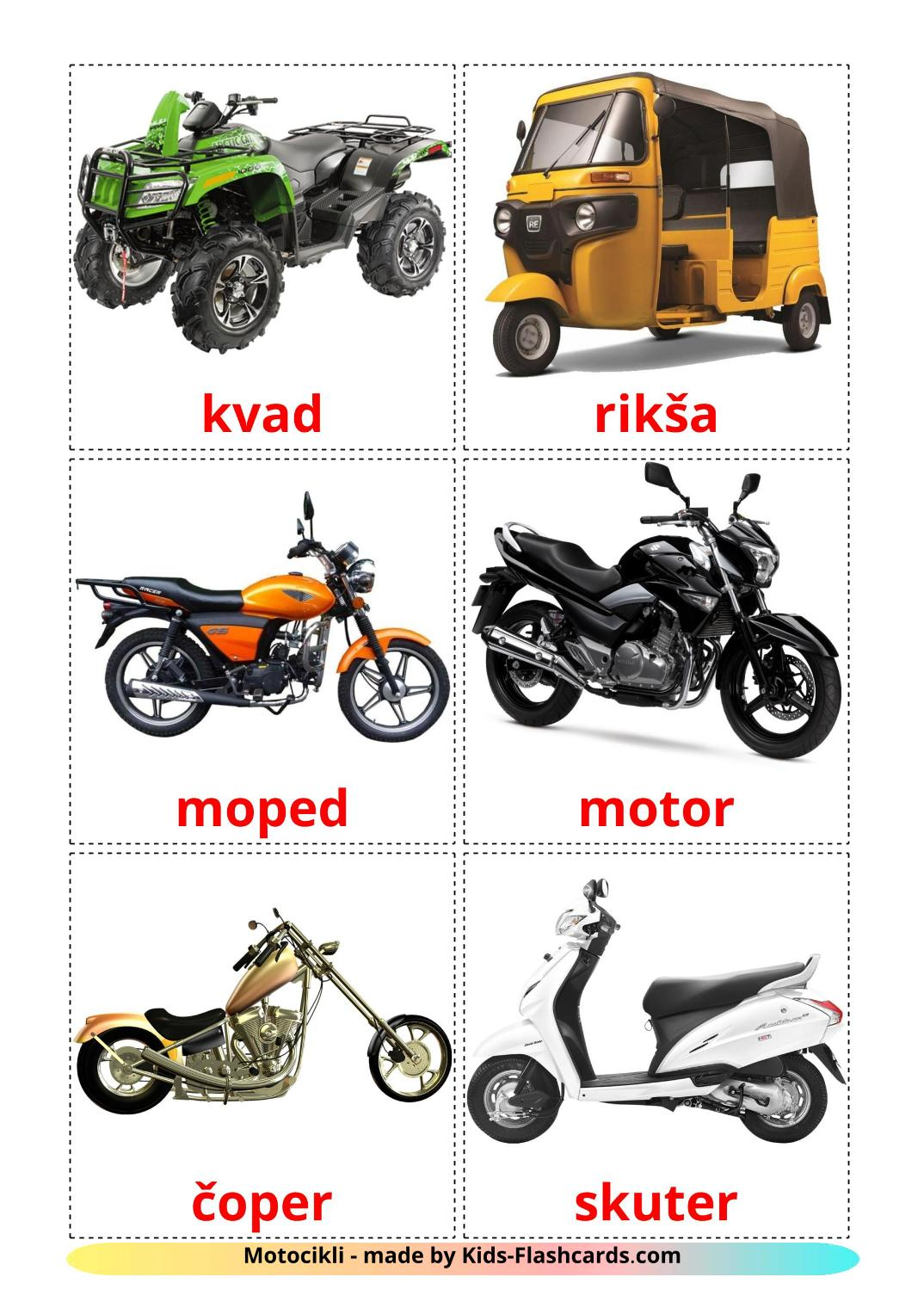 Motorcycles - 14 Free Printable croatian Flashcards