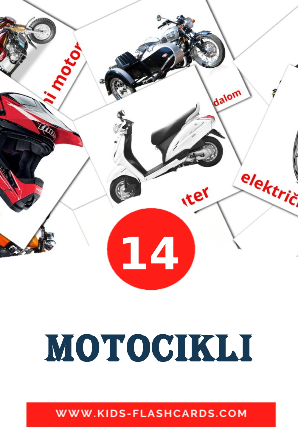 14 Motocikli Picture Cards for Kindergarden in croatian