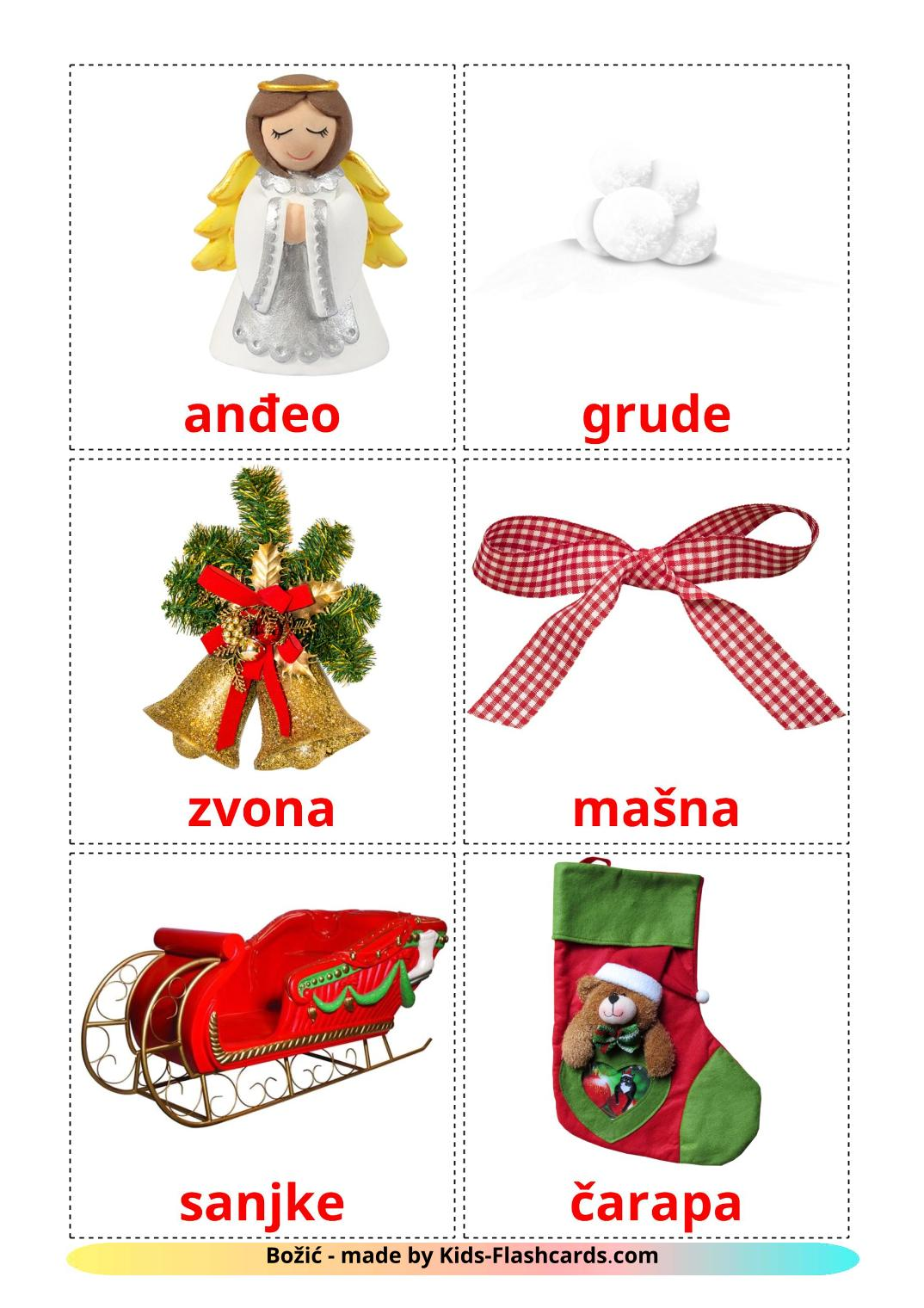 Christmas - 28 Free Printable croatian Flashcards