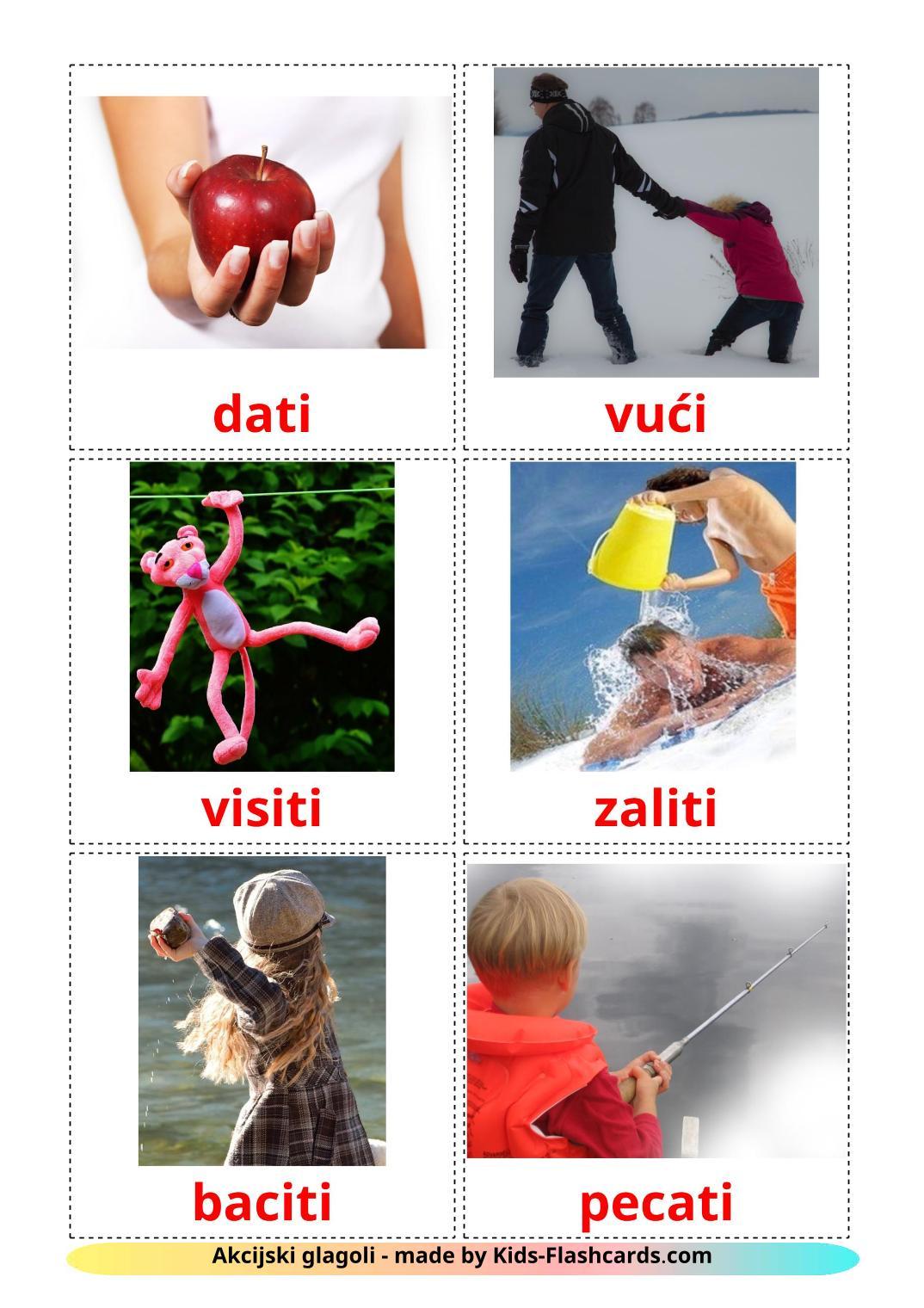 Action verbs - 55 Free Printable croatian Flashcards