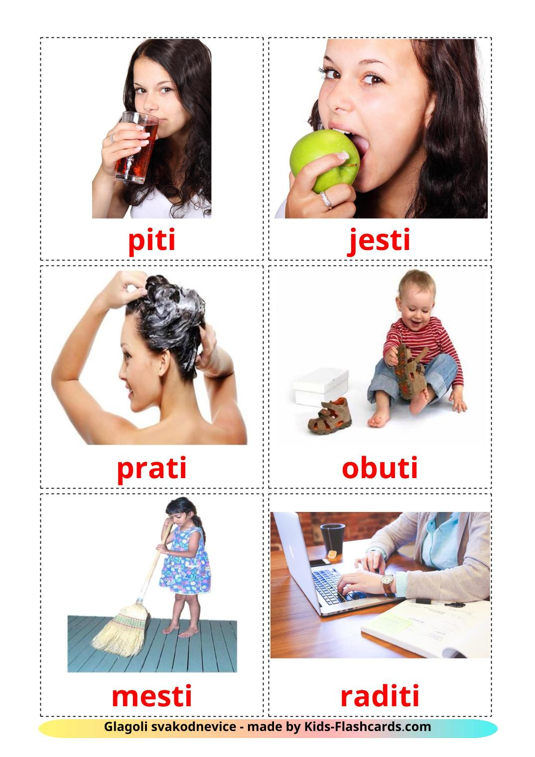 Routine verbs - 33 Free Printable croatian Flashcards