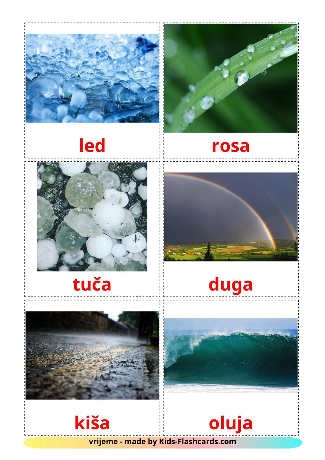 Weather - 31 Free Printable croatian Flashcards