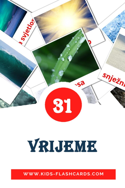 31 vrijeme Picture Cards for Kindergarden in croatian