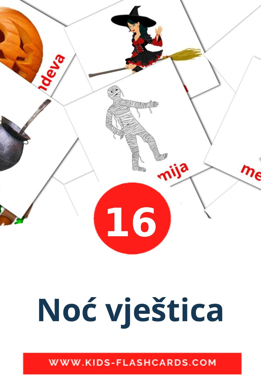 16 Noć vještica Picture Cards for Kindergarden in croatian