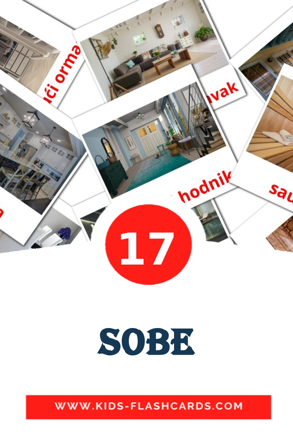 17 sobe Picture Cards for Kindergarden in croatian