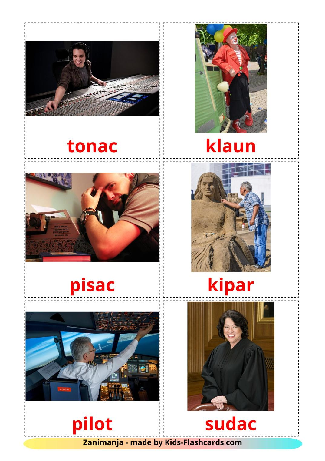 Professions - 36 Free Printable croatian Flashcards