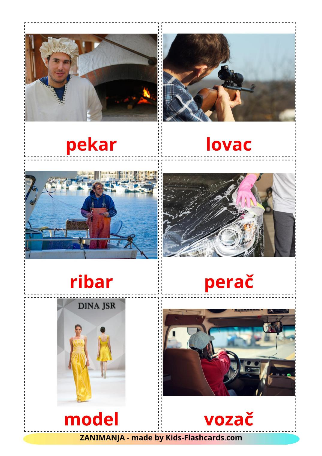 Jobs and Occupations - 51 Free Printable croatian Flashcards