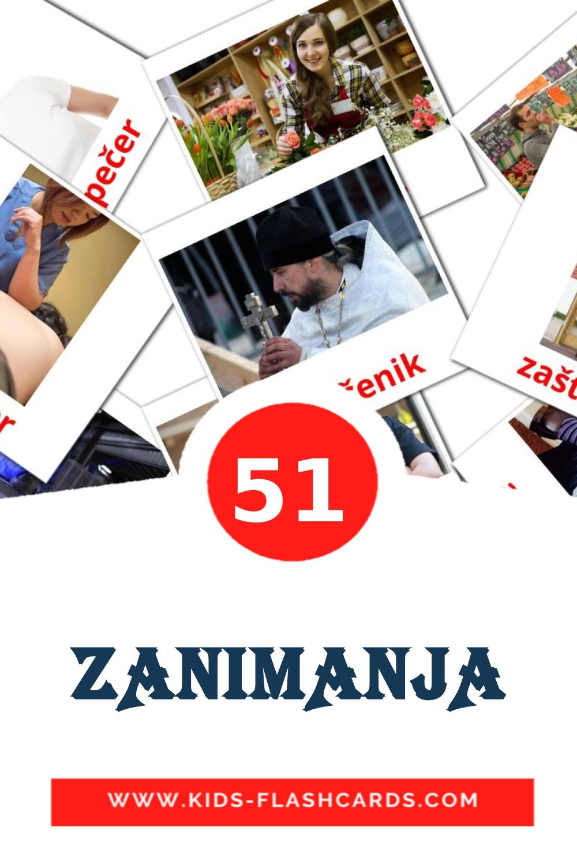 51 ZANIMANJA Picture Cards for Kindergarden in croatian
