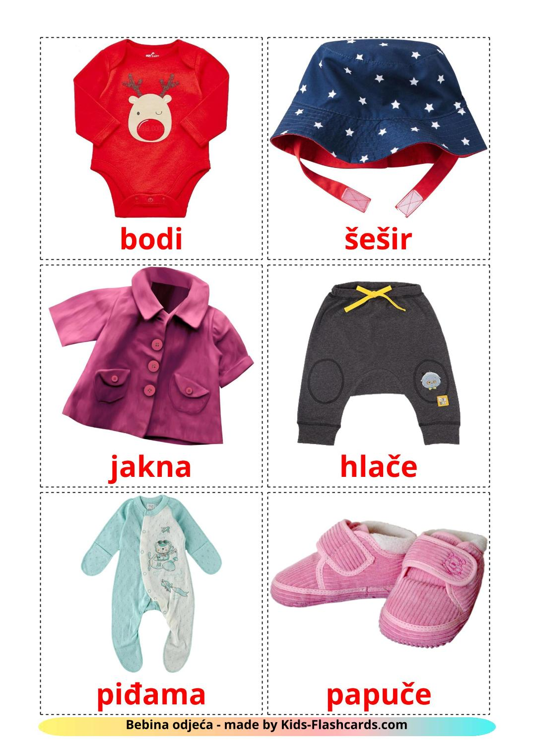 Baby clothes - 12 Free Printable croatian Flashcards