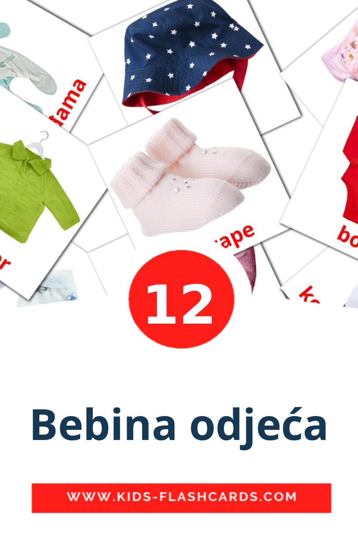 12 Bebina odjeća Picture Cards for Kindergarden in croatian