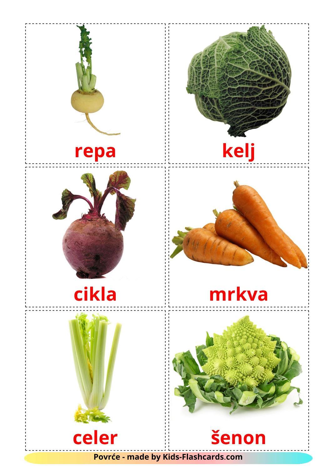 Vegetables - 29 Free Printable croatian Flashcards