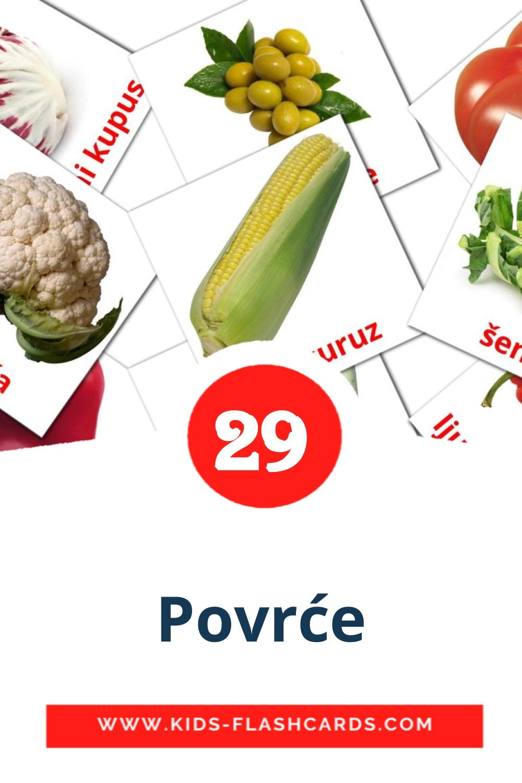29 Povrće Picture Cards for Kindergarden in croatian