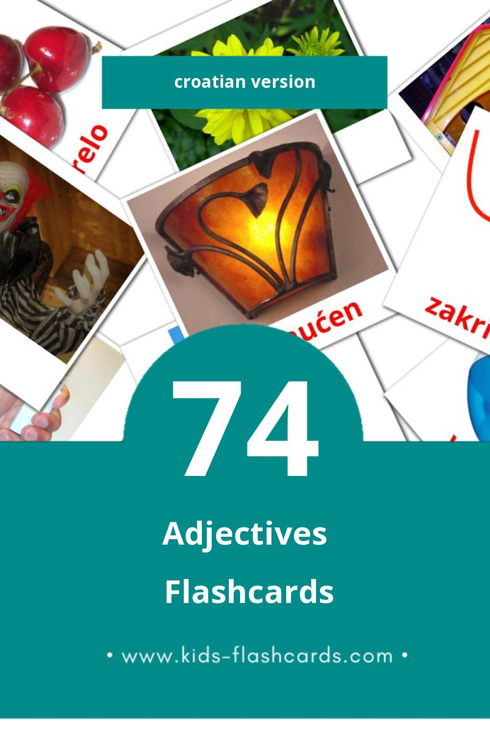 Visual Pridjevi Flashcards for Toddlers (74 cards in Croatian)