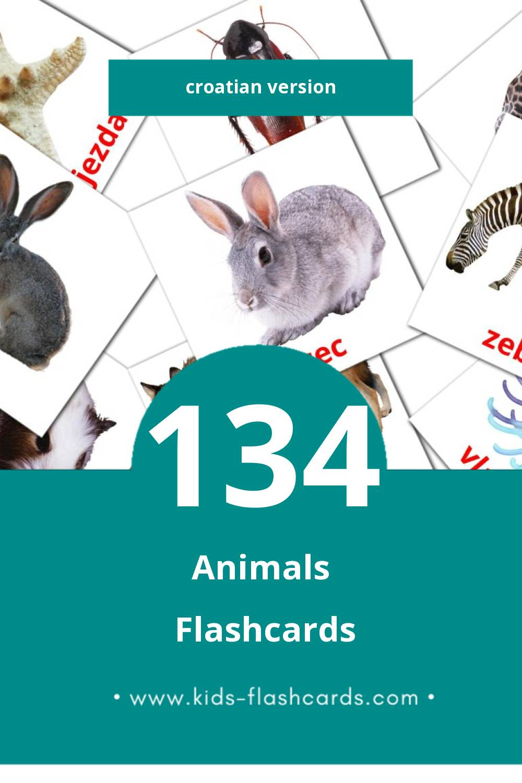 Visual Životinje Flashcards for Toddlers (128 cards in Croatian)