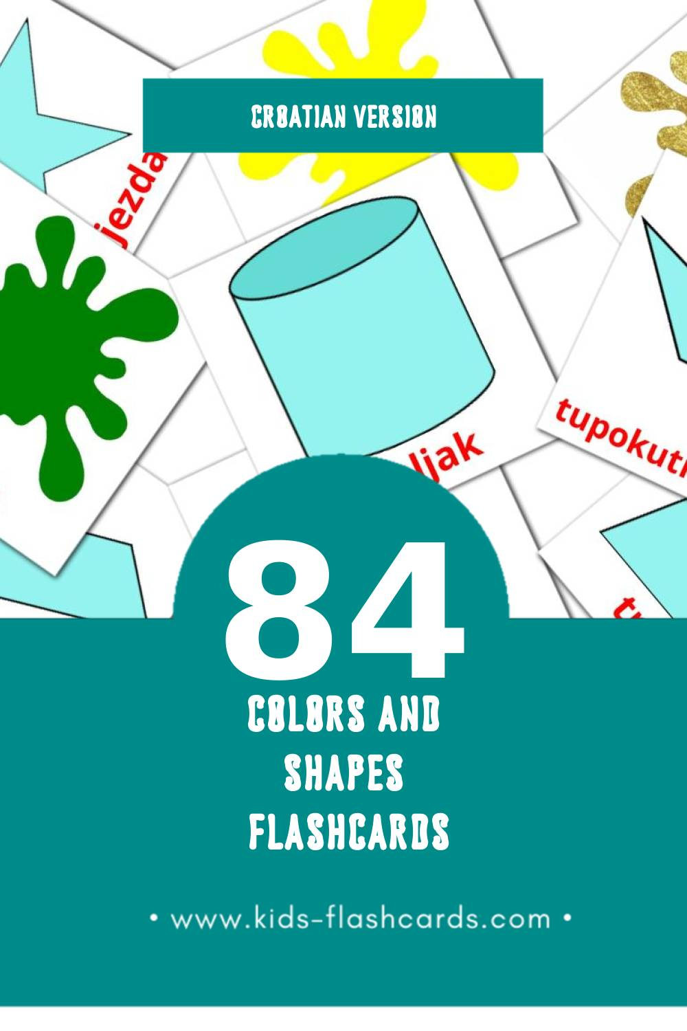 Visual Boje i oblici Flashcards for Toddlers (84 cards in Croatian)