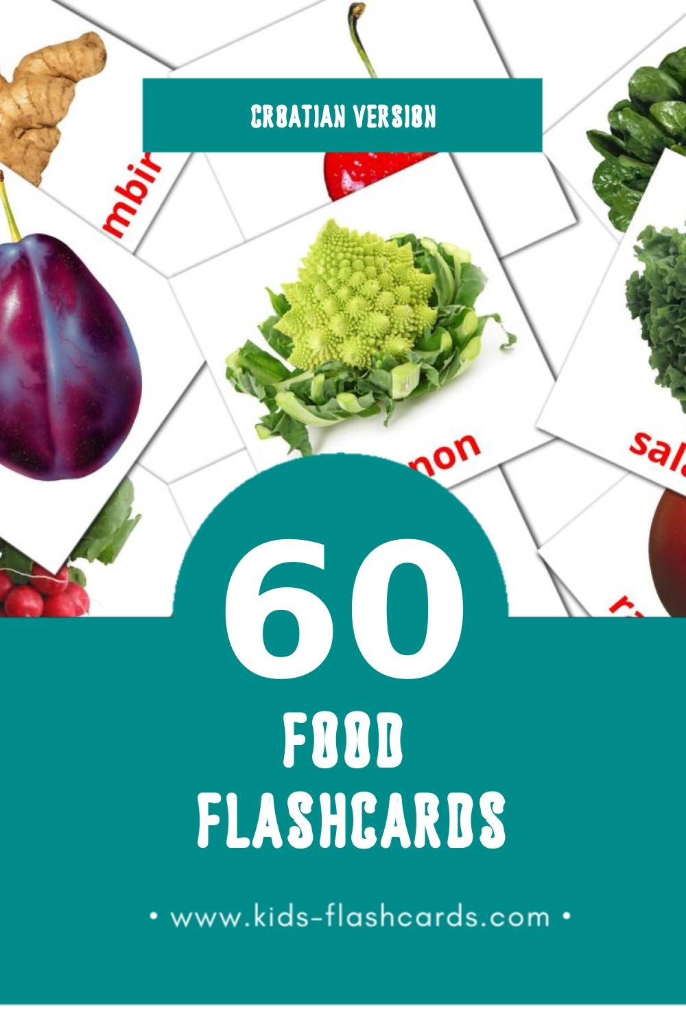Visual Hrana Flashcards for Toddlers (60 cards in Croatian)