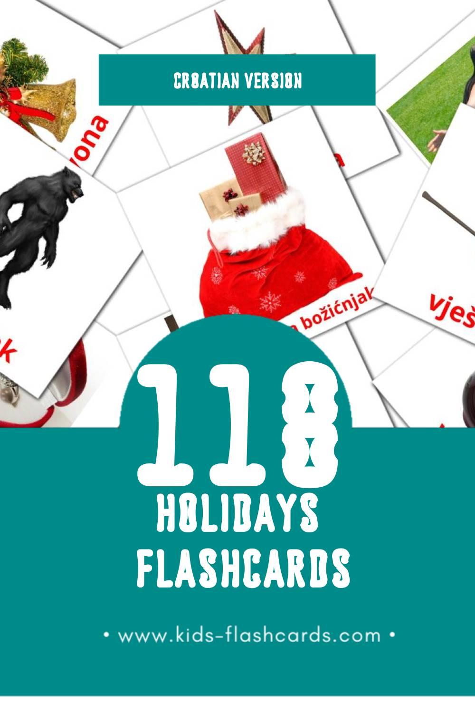 Visual Praznik Flashcards for Toddlers (87 cards in Croatian)