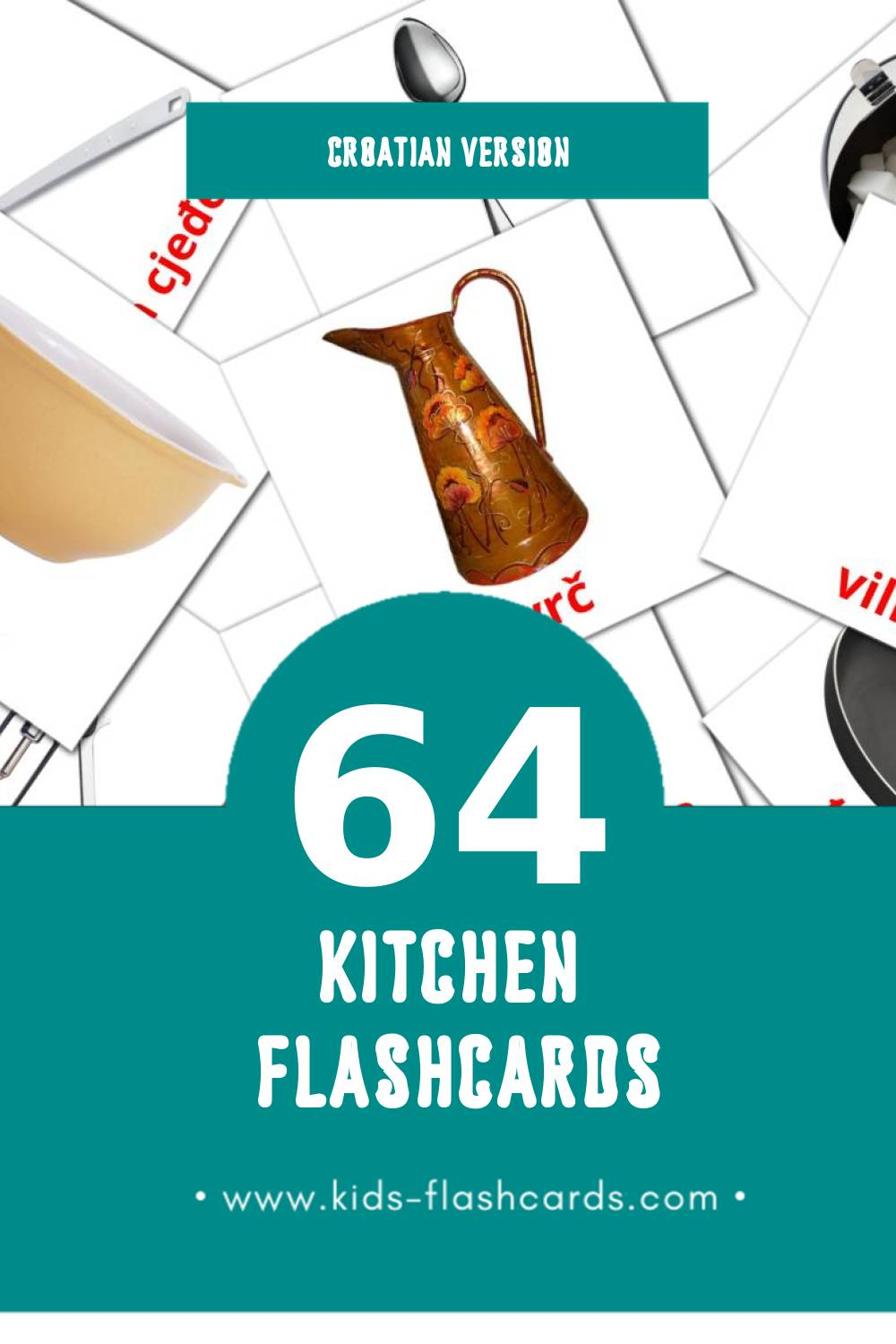 Visual Kuhinja Flashcards for Toddlers (64 cards in Croatian)