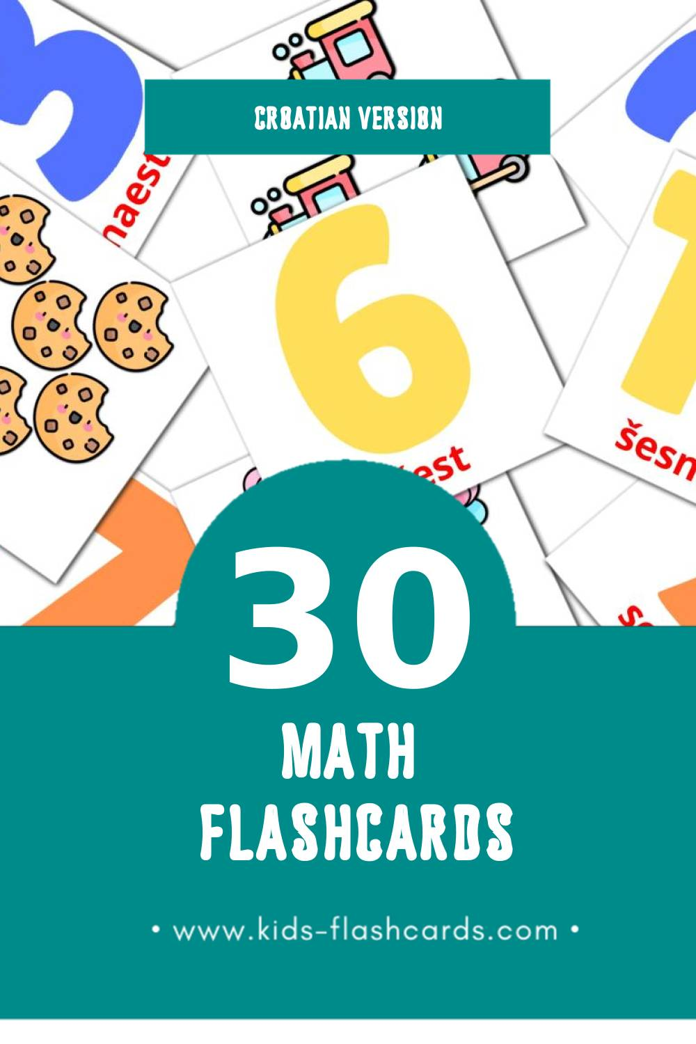 Visual Matematika Flashcards for Toddlers (30 cards in Croatian)