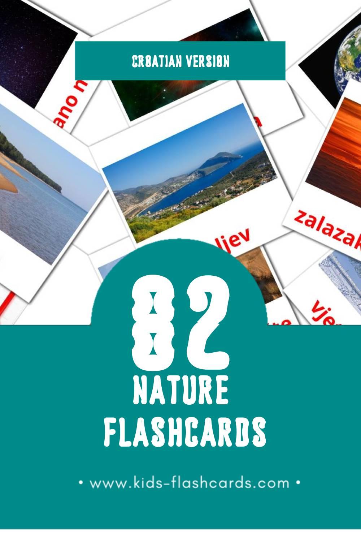Visual Priroda Flashcards for Toddlers (51 cards in Croatian)