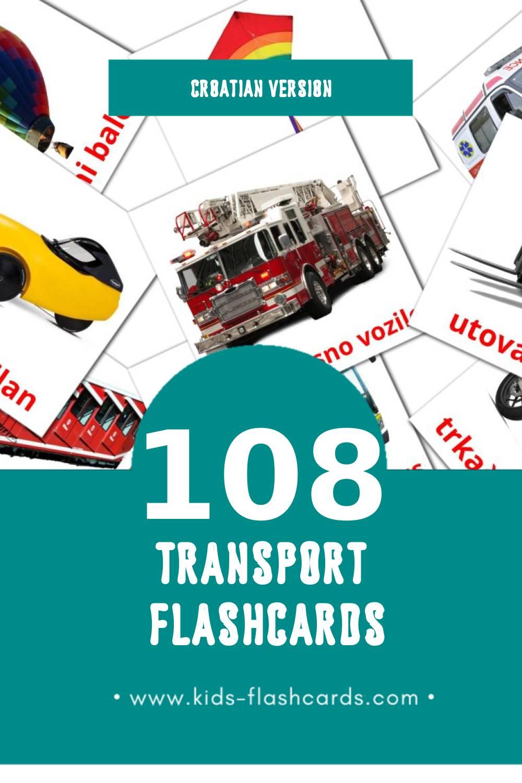 Visual Prijevozna sredstva Flashcards for Toddlers (92 cards in Croatian)