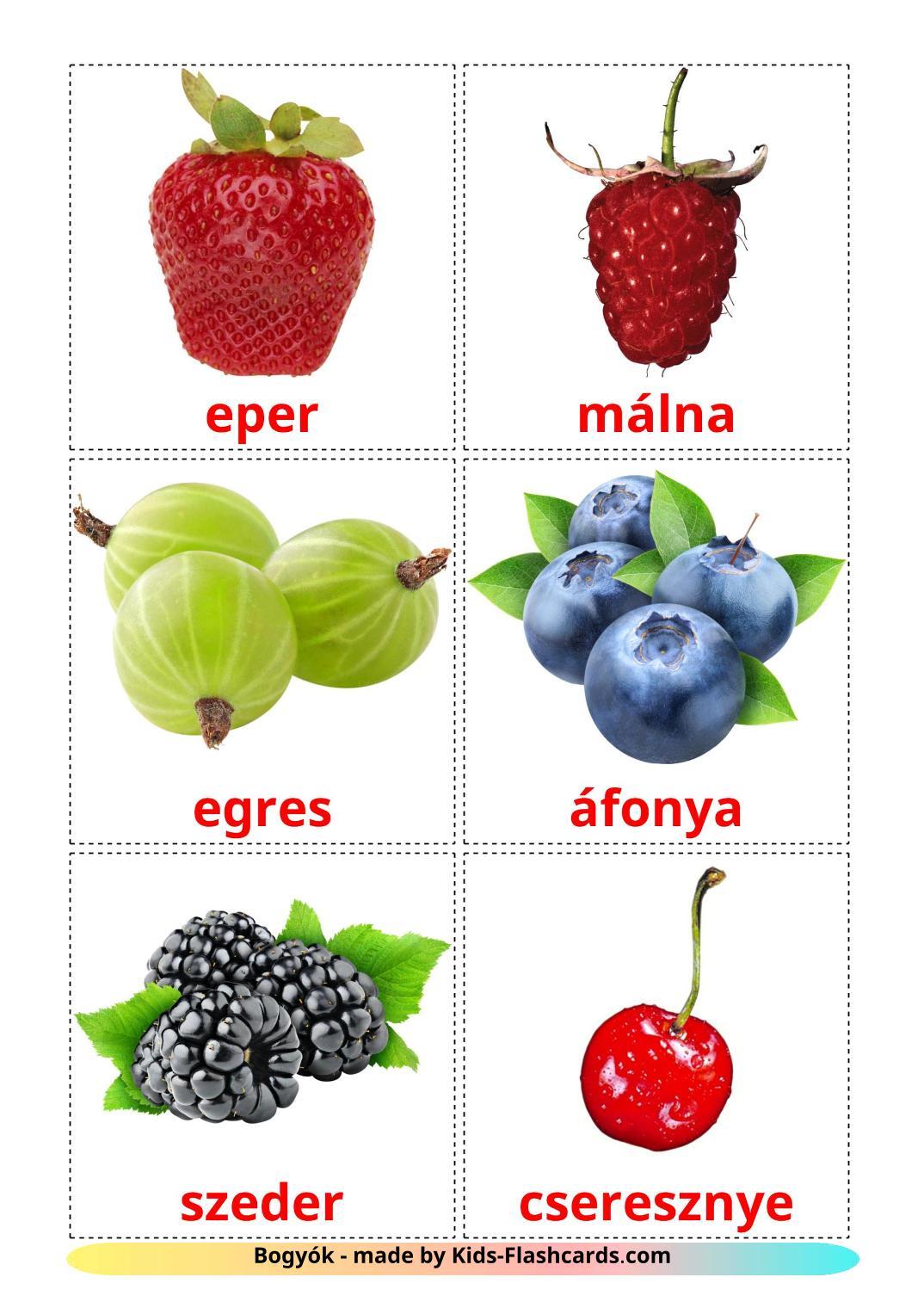 Berries - 11 Free Printable hungarian Flashcards