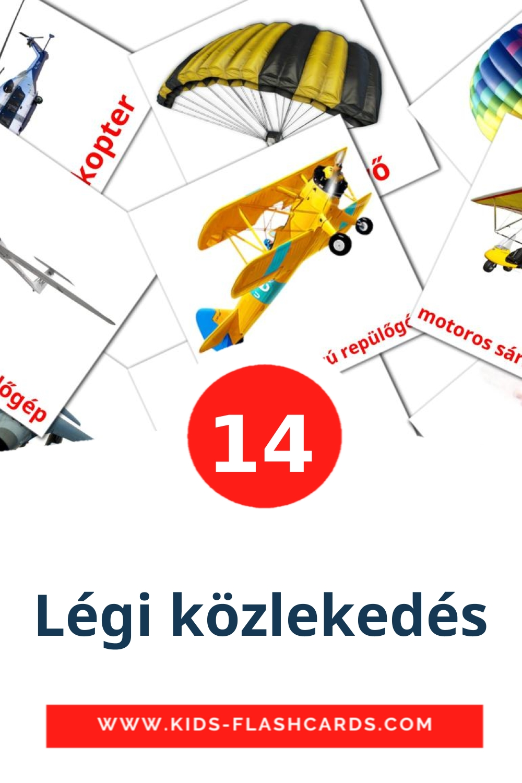 14 Légi közlekedés Picture Cards for Kindergarden in hungarian