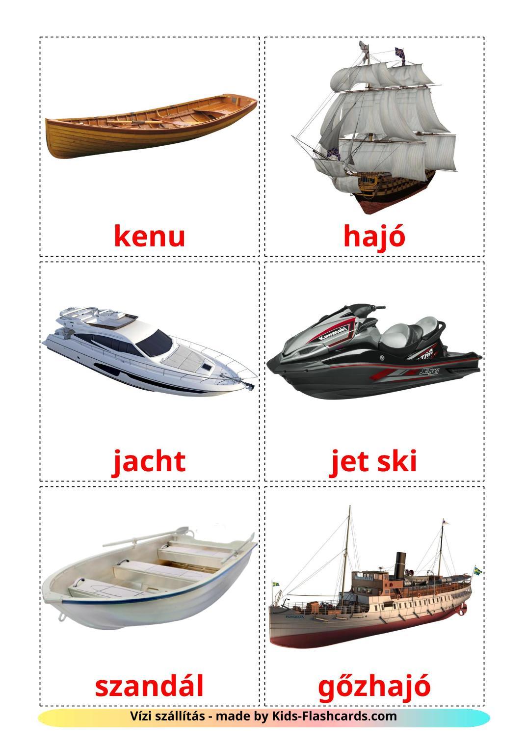 Water transport - 18 Free Printable hungarian Flashcards