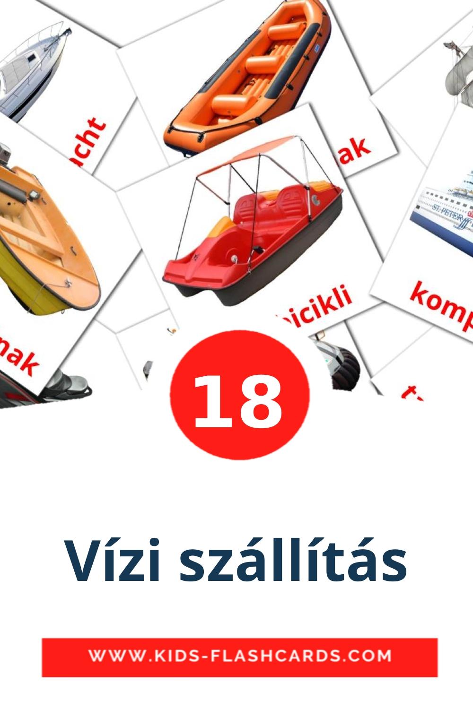 18 Vízi szállítás Picture Cards for Kindergarden in hungarian