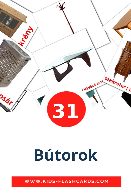 31 Bútorok Picture Cards for Kindergarden in hungarian