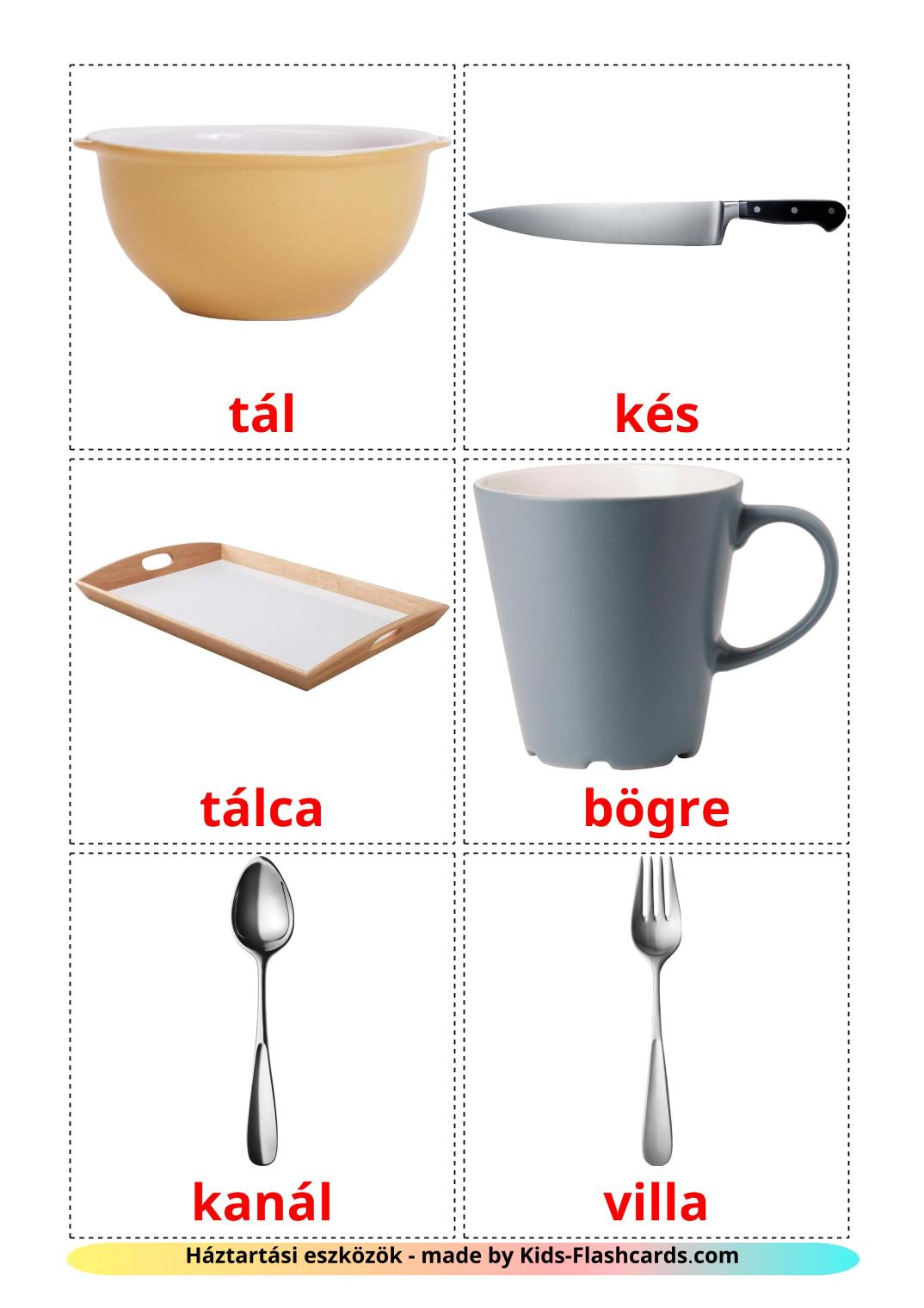 Crockery and cutlery - 29 Free Printable hungarian Flashcards