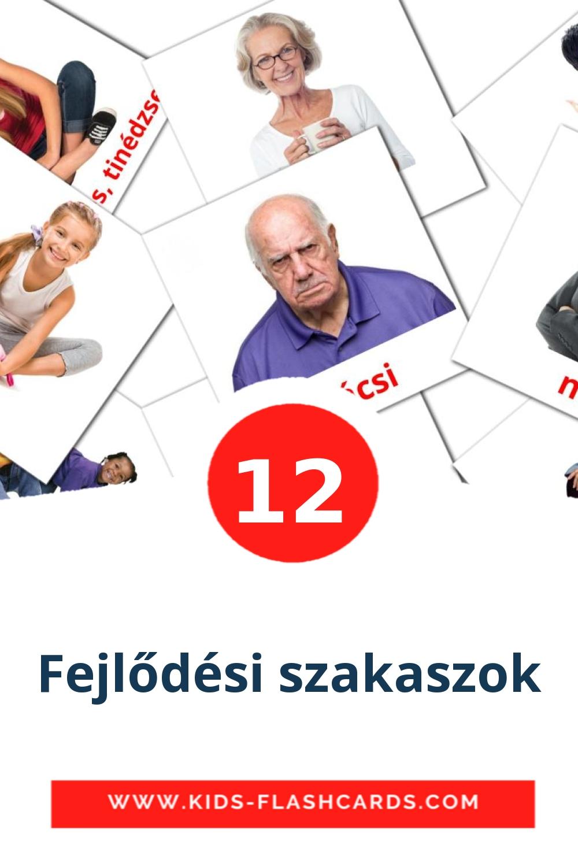 12 Fejlődési szakaszok Picture Cards for Kindergarden in hungarian