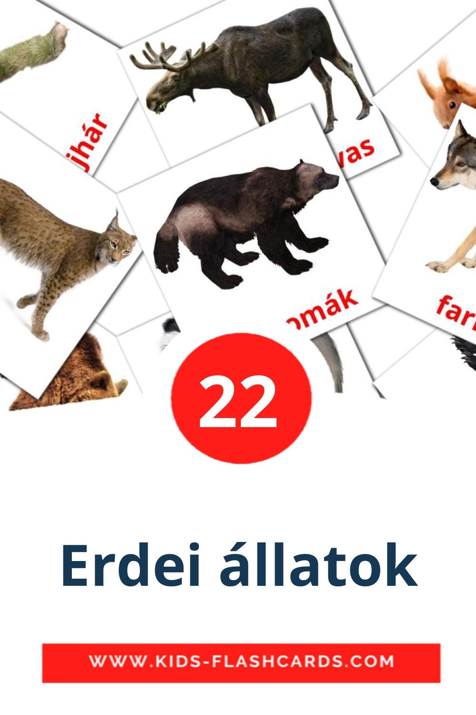 22 Erdei állatok Picture Cards for Kindergarden in hungarian