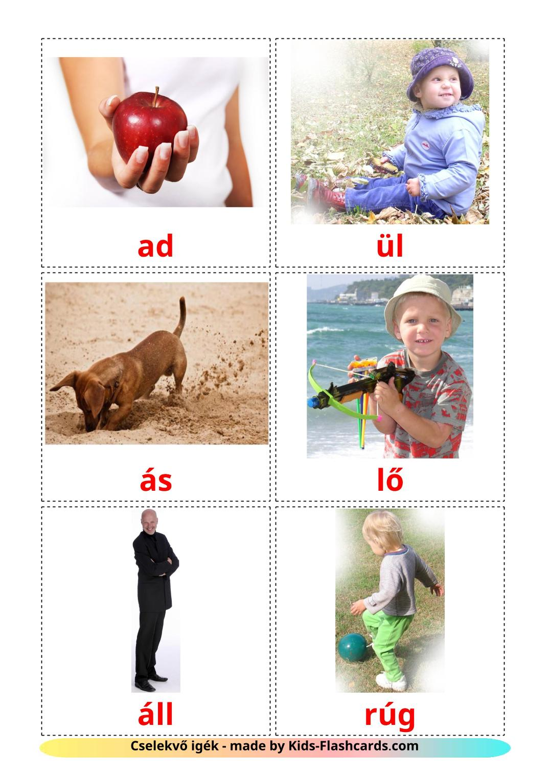 Action verbs - 55 Free Printable hungarian Flashcards