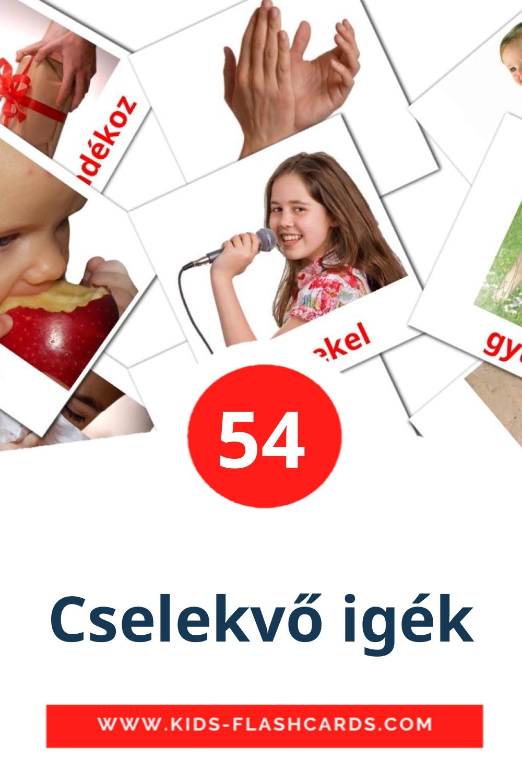 55 Cselekvő igék Picture Cards for Kindergarden in hungarian