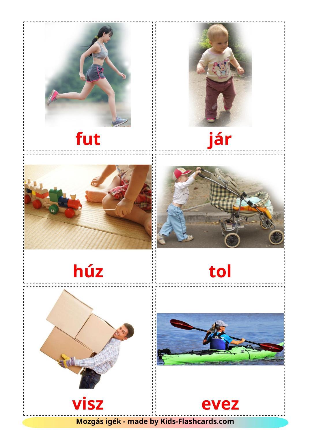 Movement verbs - 22 Free Printable hungarian Flashcards