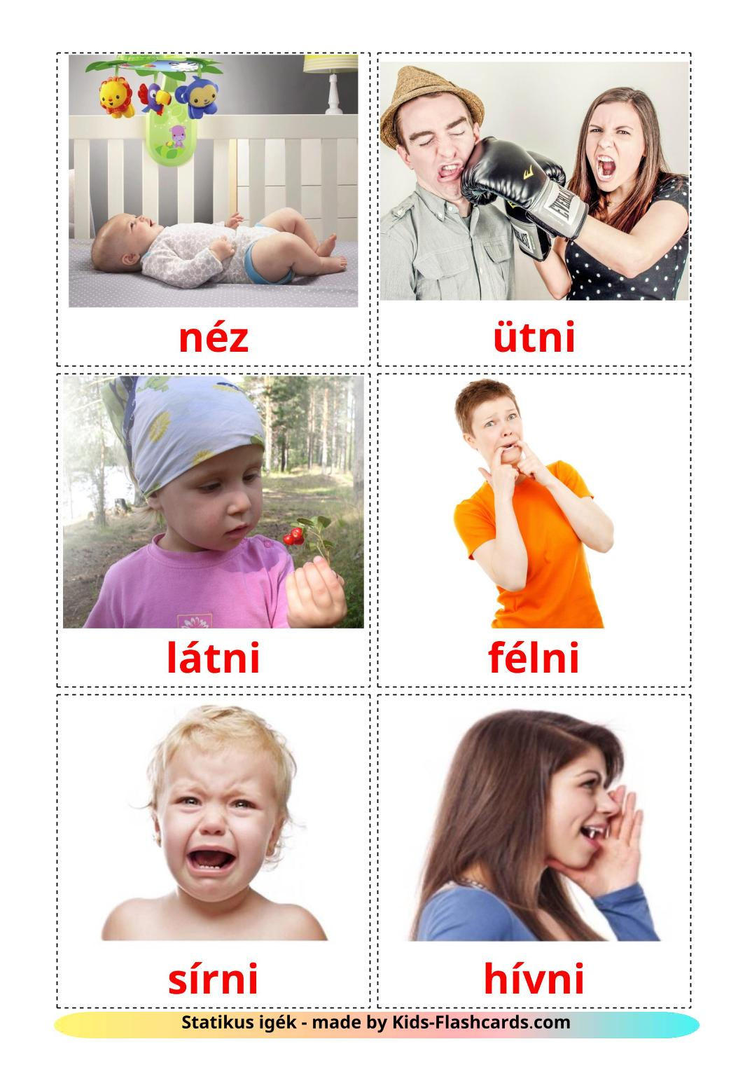 State verbs - 23 Free Printable hungarian Flashcards